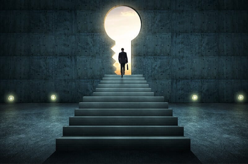 a man is going to the success key